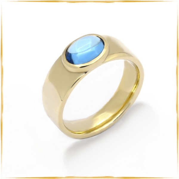 Ring | 585/000 Gold | Topas-Cabochon ca. 1,00 ct.