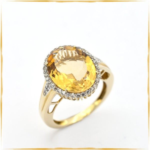 Ring | 585/000 Gold | ca. 0,40 ct. Diamanten | Farbstein