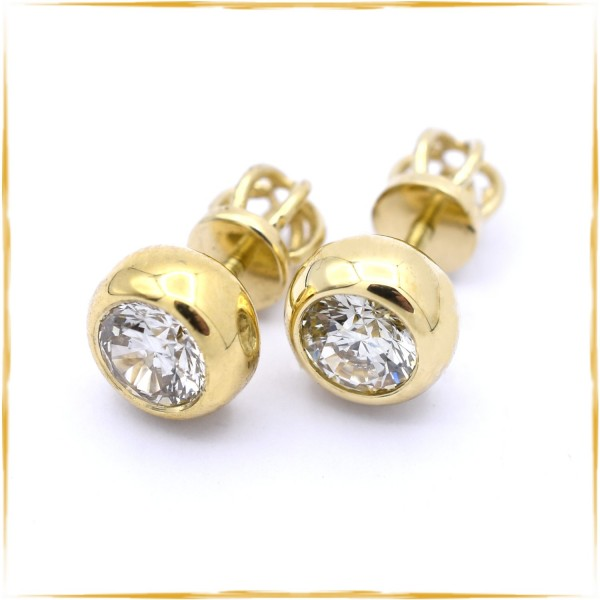 Brillant Ohrstecker | Solitaire | 750/000 Gold | ca. 1,00 ct. | Handarbeit