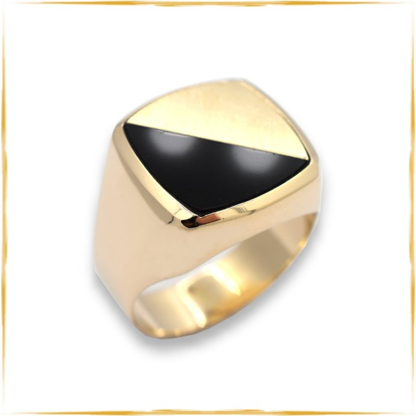 Ring | 585/000 Gold | Onyx | Chevalier | Siegelring