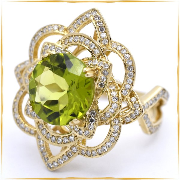 Ring | 585/000 Gold | Diamanten | Peridot
