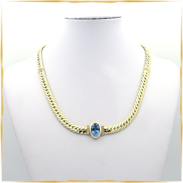 Collier | 585/000 Gold | Topas ca. 5,00 ct. | ca. 0,28 ct. Brillanten